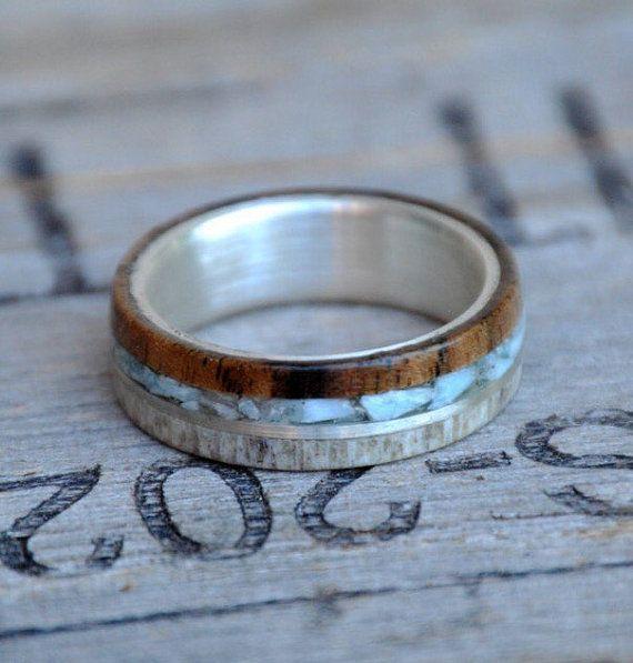 Men S Ring Walnut Larimar Metal Antler 4 Overlays Etsy In 2020 Rings For Men Womens Wedding Bands Handmade Wood Rings