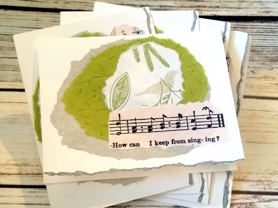 Handmade music thank you notecards for donors  YourSongDesigns.etsy.com