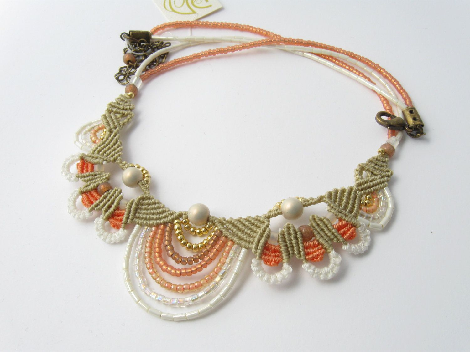 Indian Macrame beaded necklace beige orange cream ivory and white. $80.00, via Etsy.