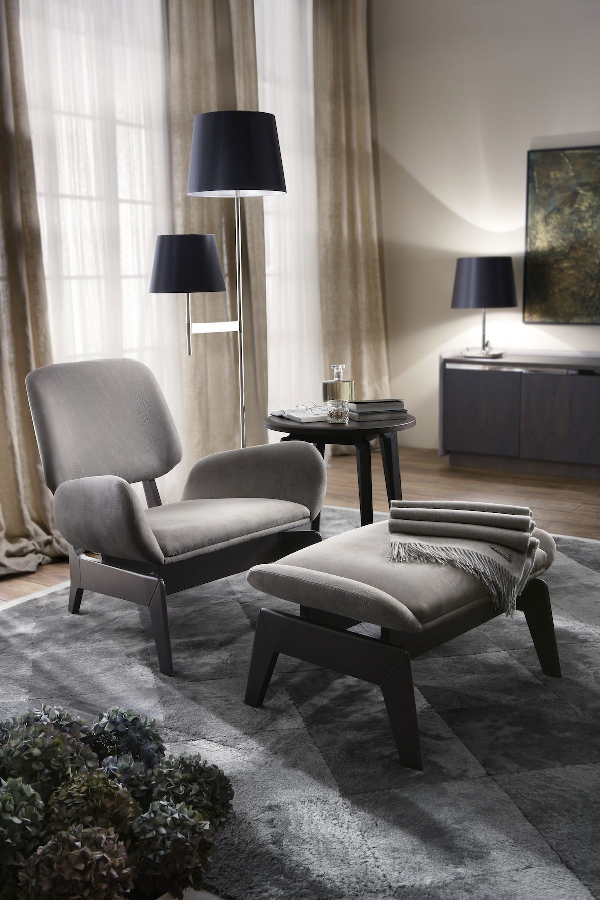Parcher armchair and pouf in grey dundee leather furniture