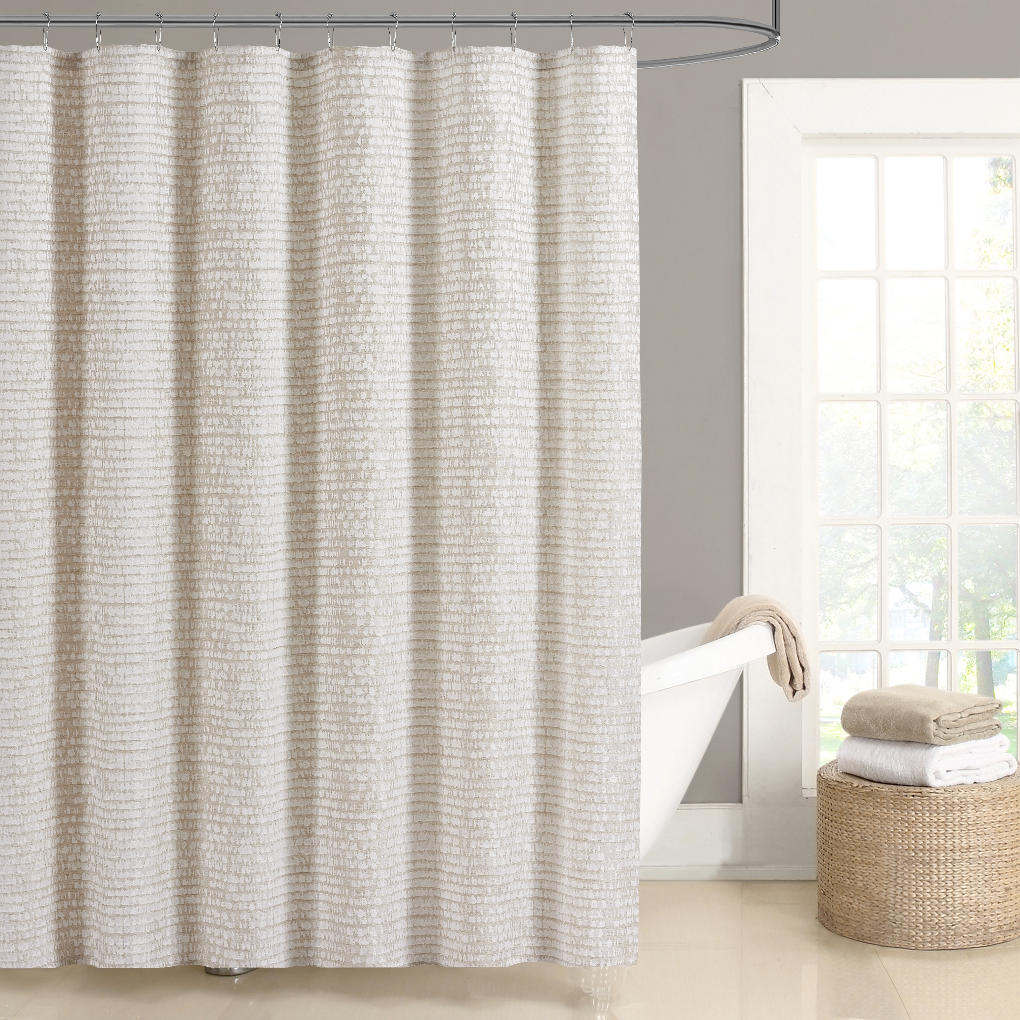 Five Queens Court Lance Woven Jacquard Shower Curtain In Ivory As