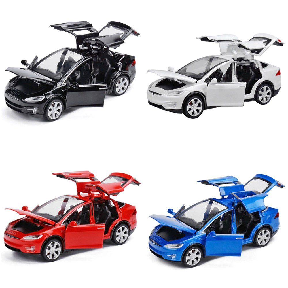 1:32 Diecast Tesla Sound and Light Model Toy Cars Alloy Pull Back Car Xmas Gift