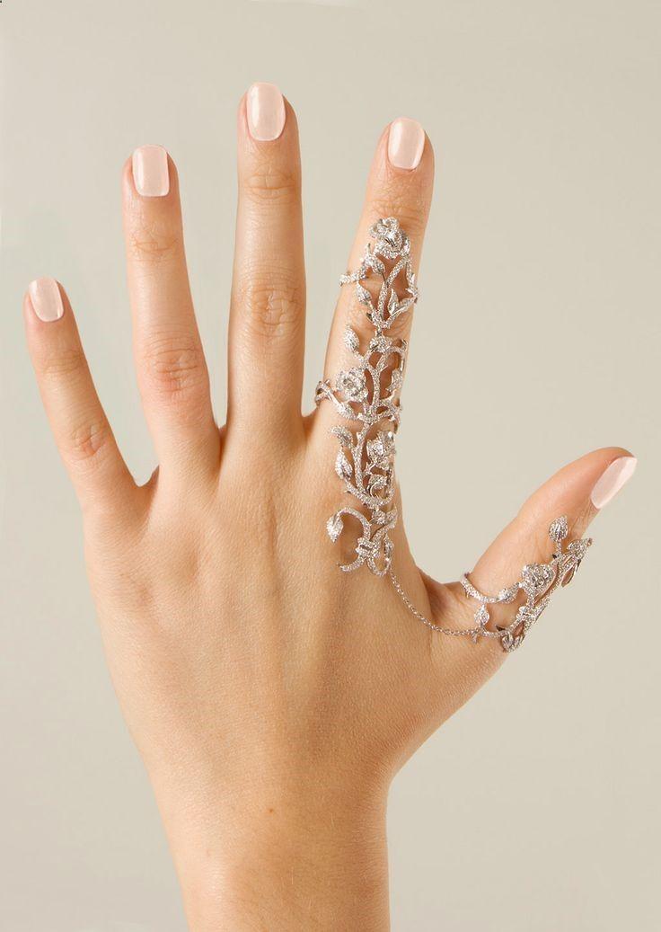 Chain Link Full Rhinestone Vintage Flower Double Finger Ring Womens Jewelry  Rings c3e83cb77909