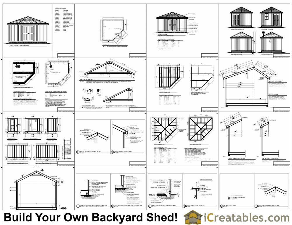 12x12 5 Sided Storage Shed Plans Example Corner Sheds Storage Shed Plans Shed Plans