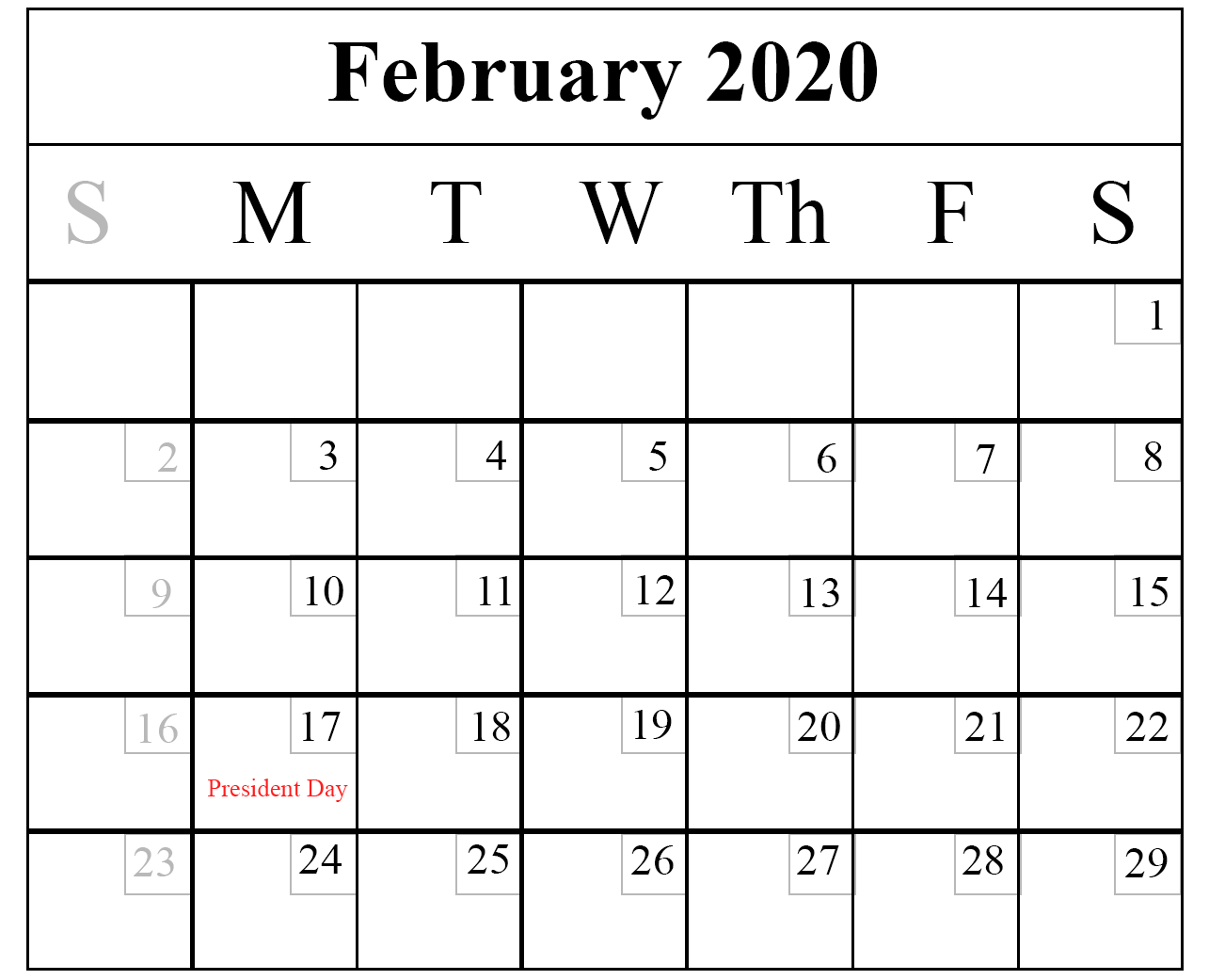 February Calendar Free Printable Template Word