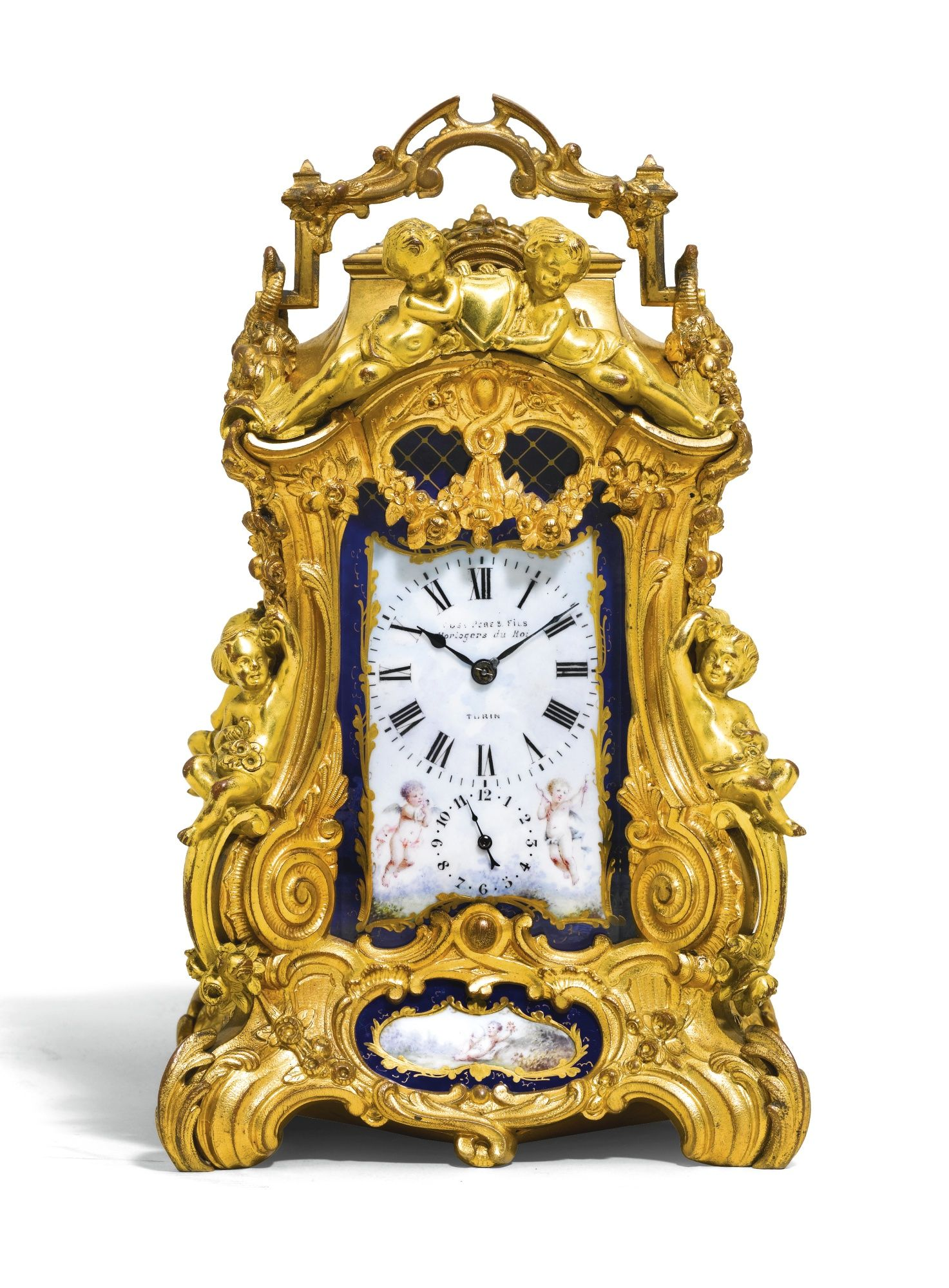 A gilt-brass and Sevres-style porcelain repeating carriage clock ...