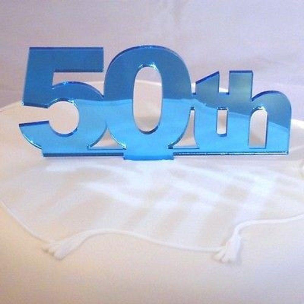 50th birthday cake topper mirrored blue 50ste