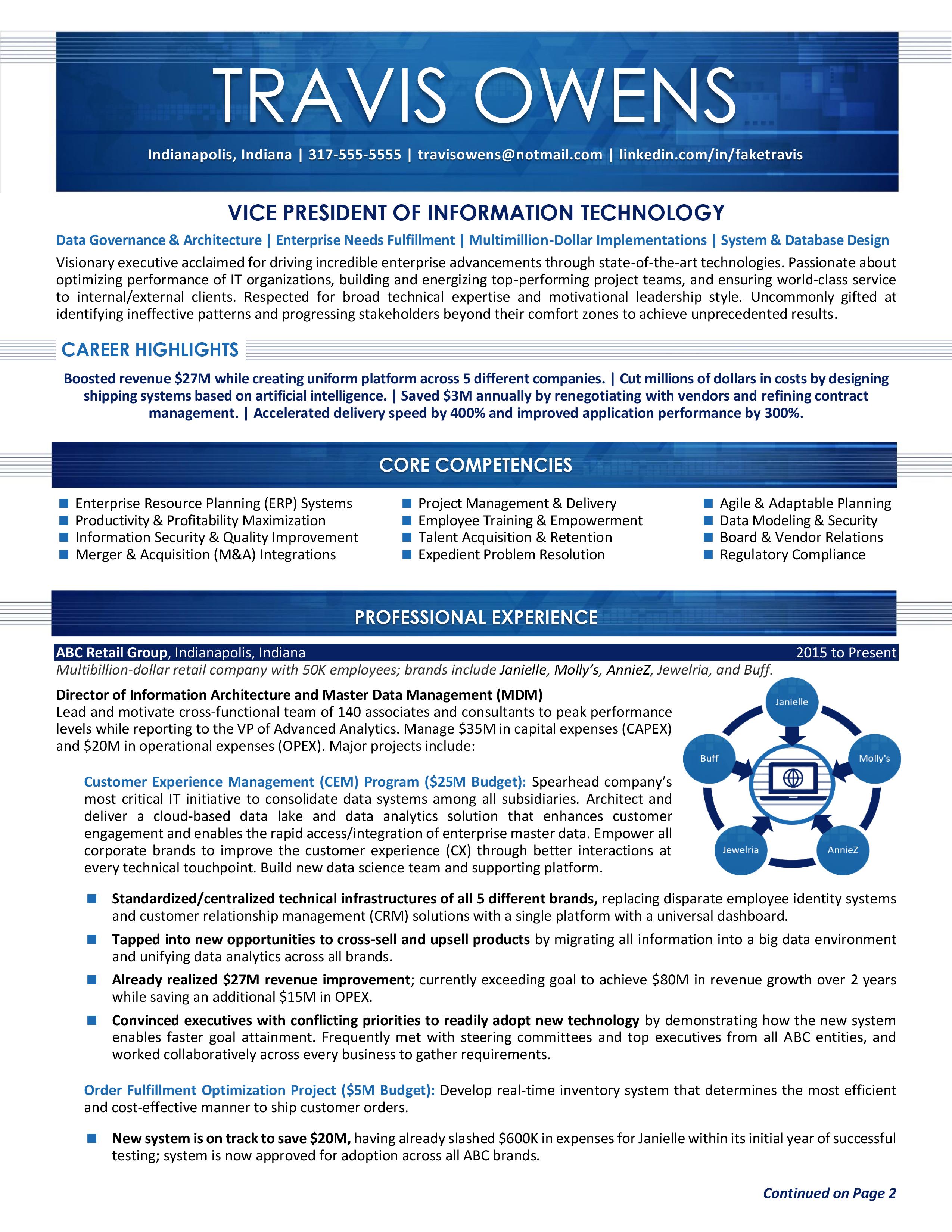 Vice President Of Information Technology Resume Sample Resume Executive Resume Resume Services