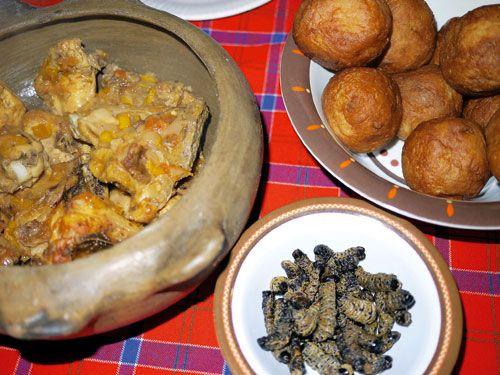 A delicious serve of 'mopane warms, 'fat-cake as we call ...