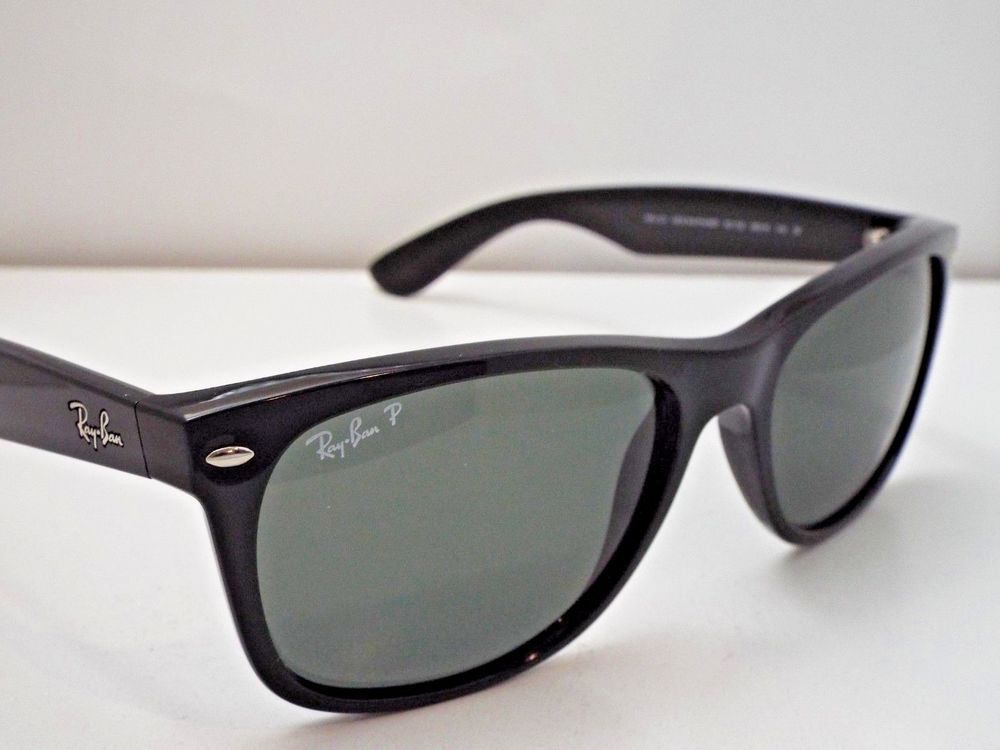 7658ce88601 Authentic Ray-Ban RB 2132 901 58 Black Green New Wayfarer Pol XL Sunglasses