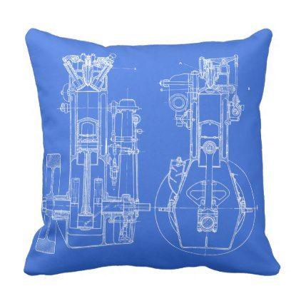 FaB MeChaNiCal DrAwinG BlUEpRiNT BluE AnD WhITe! Throw Pillow - best of mechanical blueprint definition