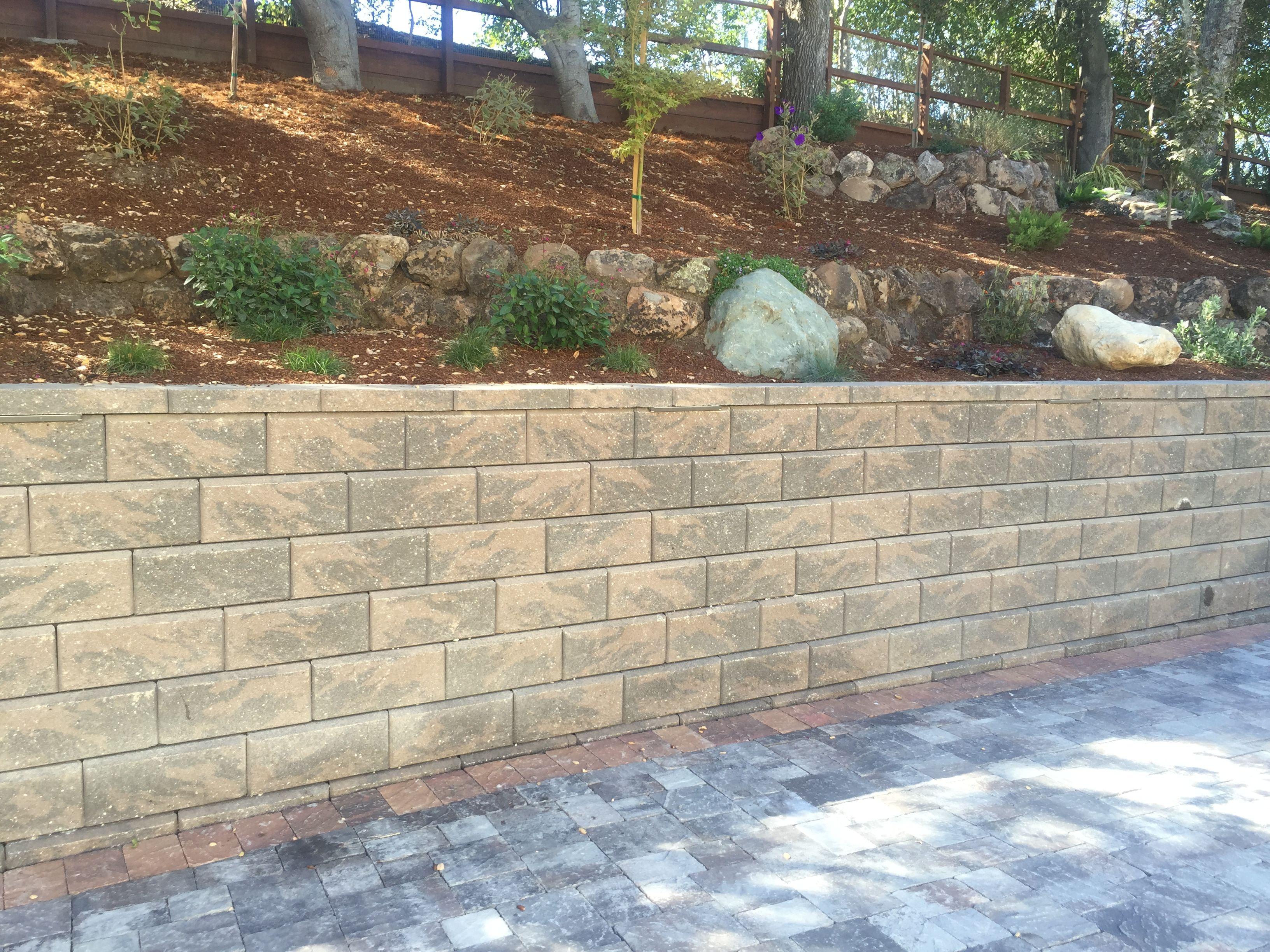 Calstone Tan Charcoal Allan Block Retaining Wall Pavers Wall