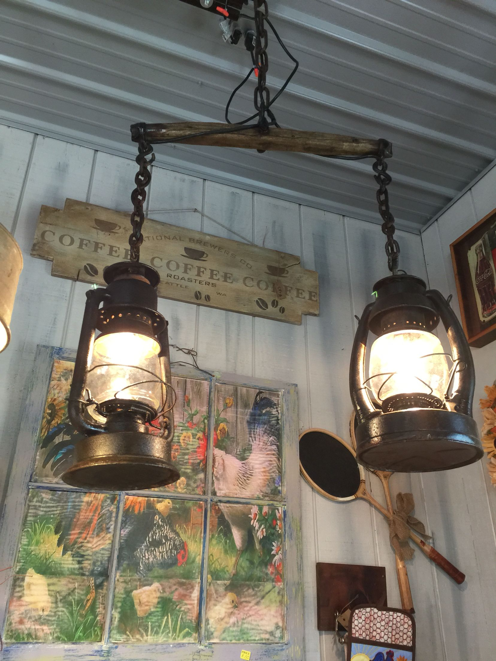 An Old Horse Yolk And Lanterns Create A Beautiful Hanging Light Find This Pin More On Rustic Lighting