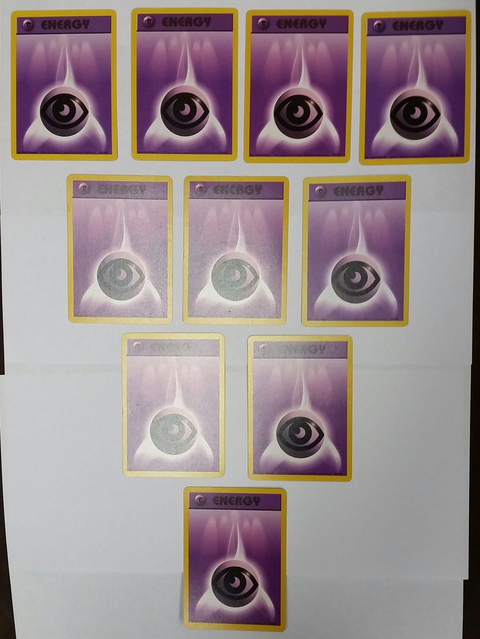 Lot of 10x psychic energy cards 101102 pokemon base set