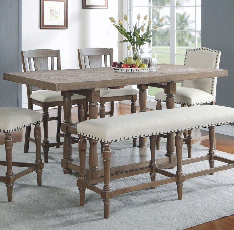 Fortunat Counter Height Extendable Butterfly Leaf Dining Table Tall Kitchen Table Tall Dining Table Counter Height Dining Sets
