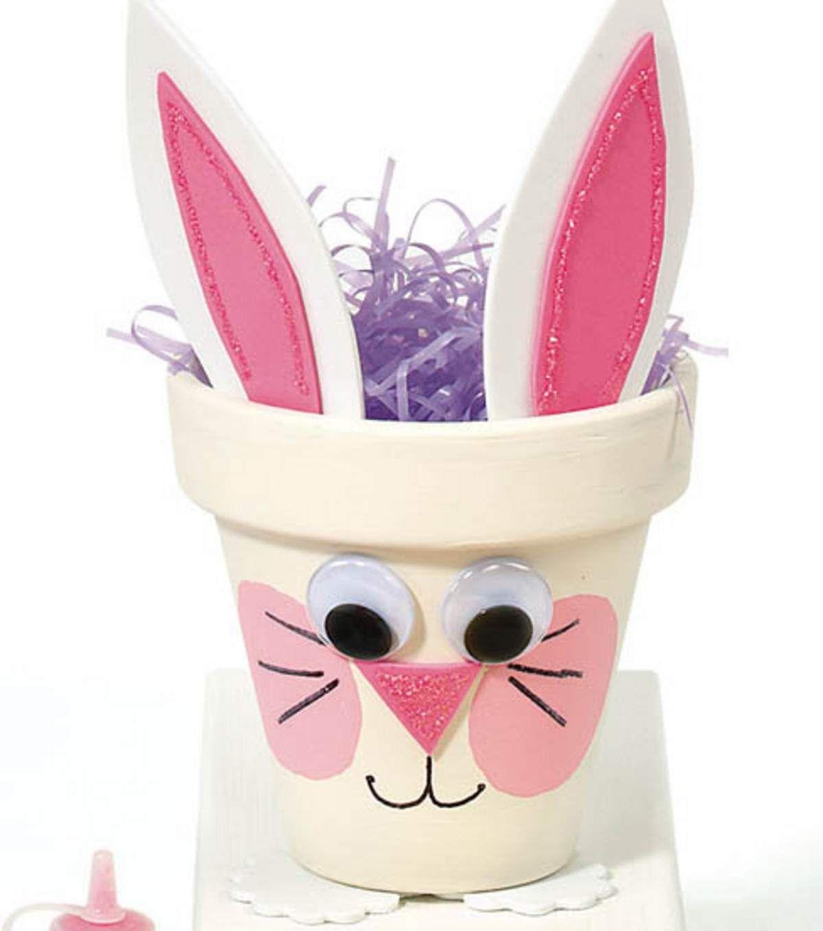 Easter crafts for seniors - Bunny Pot Easter Craft Idea For Kids