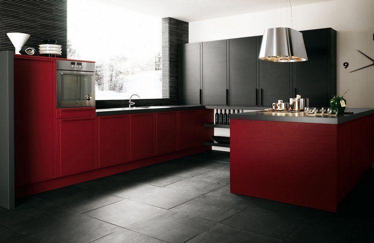 Cuisine Rouge Et Noir Mat Aux Accents Blancs Et Inox De Design