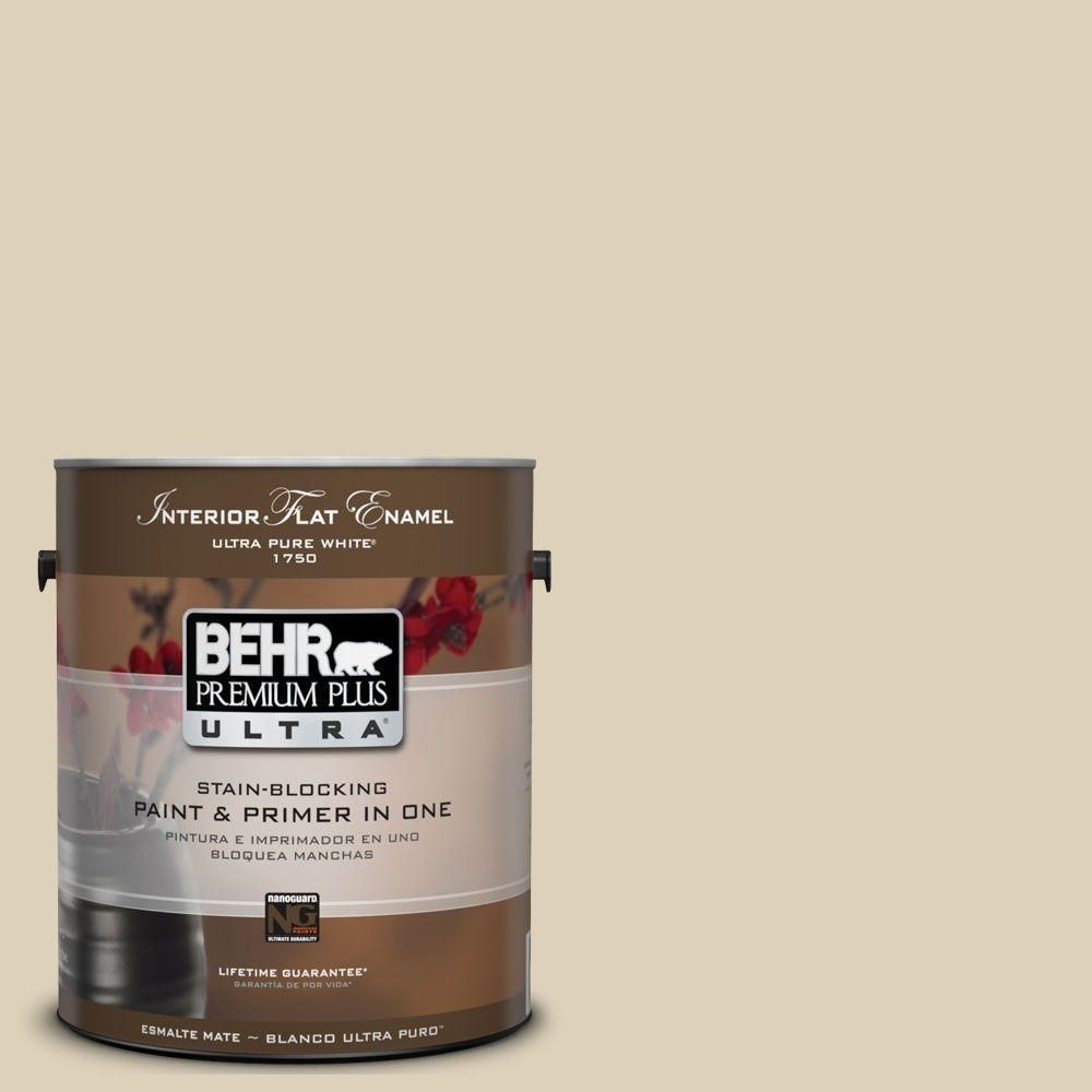 BEHR Premium Plus Ultra 1-Gal. #UL160-14 Natural Almond Interior Flat Enamel Paint