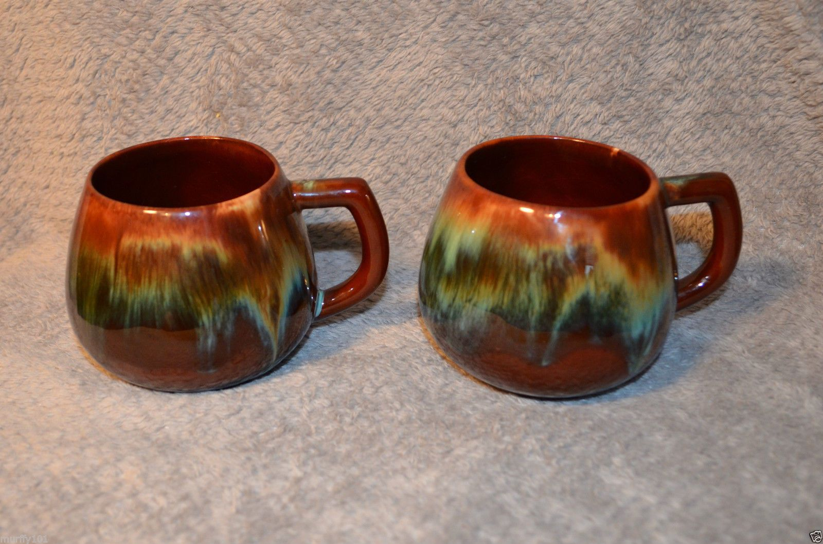 "Vintage RARE ""CCC"" Pottery Flame Glaze 3 1 4 in 2 Coffee"
