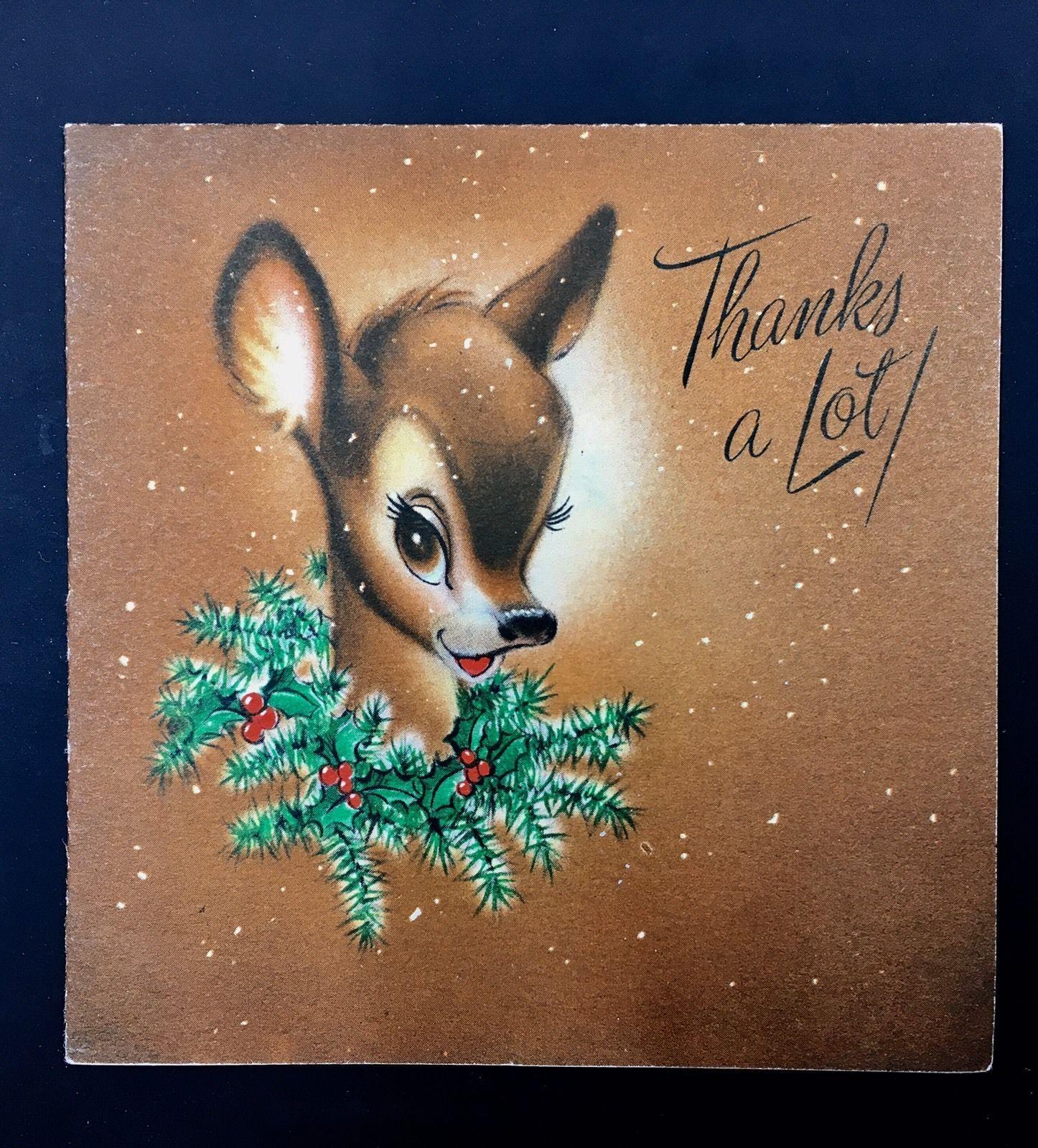 Vintage Christmas Card Hallmark Reindeer Fawn Portrait Holly Wreath ...