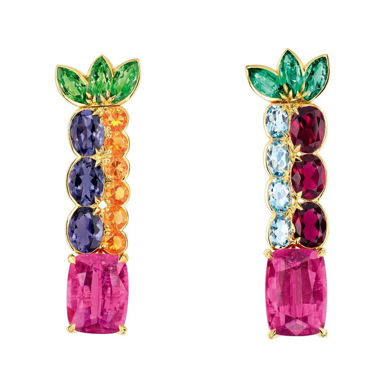 Dior Granville high jewelry earrings are a colourful mix
