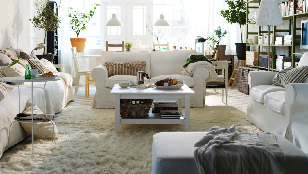 Comfy Living By Ikea A Large Room And Dining Area With Lots Of Storage Shaggy Rug Painted Shelving Units Table To Create Cozy