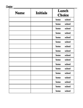 Attendance And Lunch Count Sign In Sheet  Bulletin Board Ideas