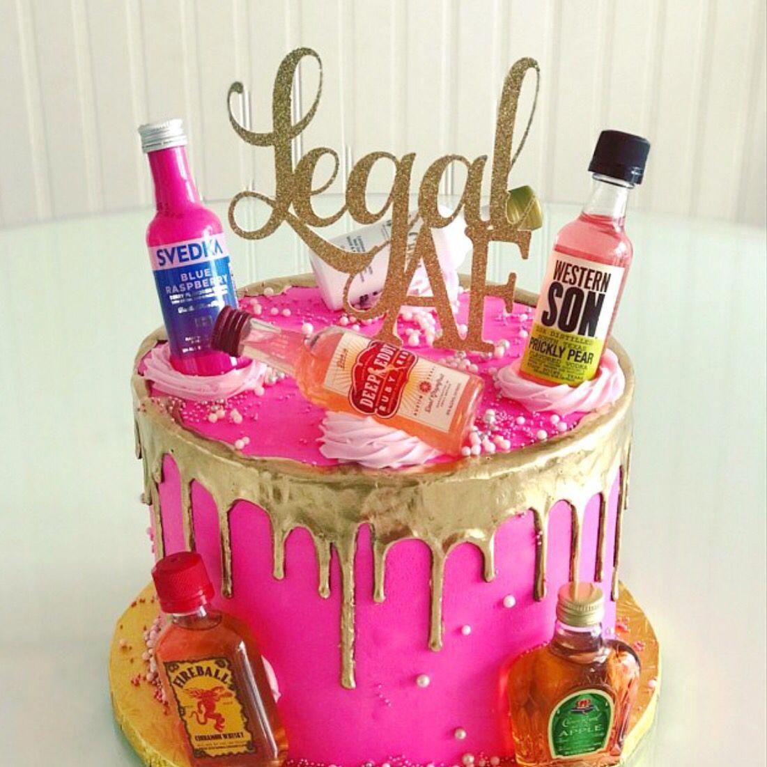 Glitter Legal AF Birthday Cake Topper, Twenty One, Gold 18