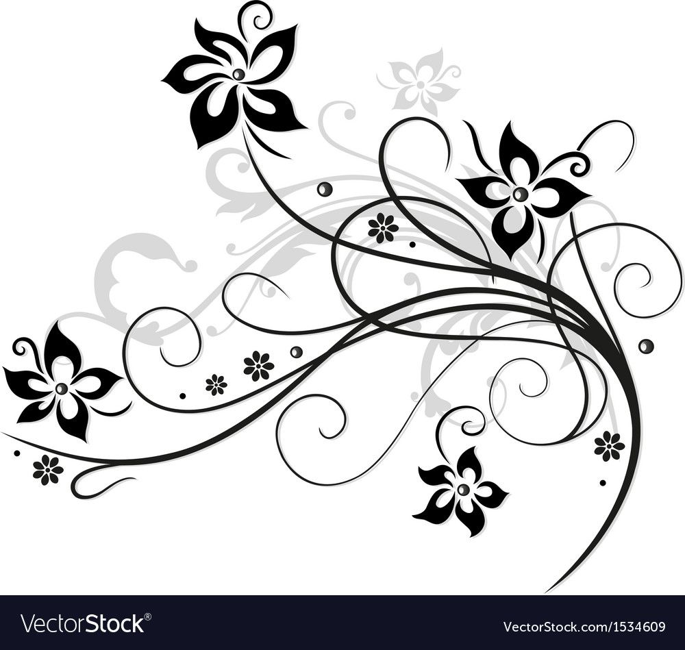 Elegant Abstract Flowers Black And Grey Download A Free Preview Or High Quality Adobe Illustrator Ai Eps Black Flowers Abstract Flowers Flower Silhouette