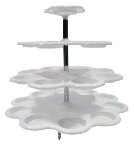 http://www.cupcakepins.com/imperial-4-tier-plastic-cupcake-dessert-stand-up-to-24-cupcake-holder-stand-white/ 4 Tier Plastic Cupcake Stand. Stylish design and easy to install. Chrome plated stand gives a better look to your perfect cupcakes. Its great for your any celebration. Easy to clean and its dishwasher safe.