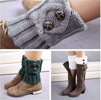 Femmes-Winter-jambières-Socks-button-crochet-tricot-boot-Socks-Toppers Menottes
