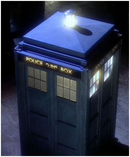 The TARDIS--Time and Relative Dimension in Space is a time machine and spacecraft employed by the only remaining Time Lord, The Doctor. The inside is much larger than the outside, and it can blend in with its surroundings due to a chameleon circuit.  It has a translation function that allows The Doctor and companions to understand the language of the places they travel to. It makes a strange whining noise when it lands in a new place.