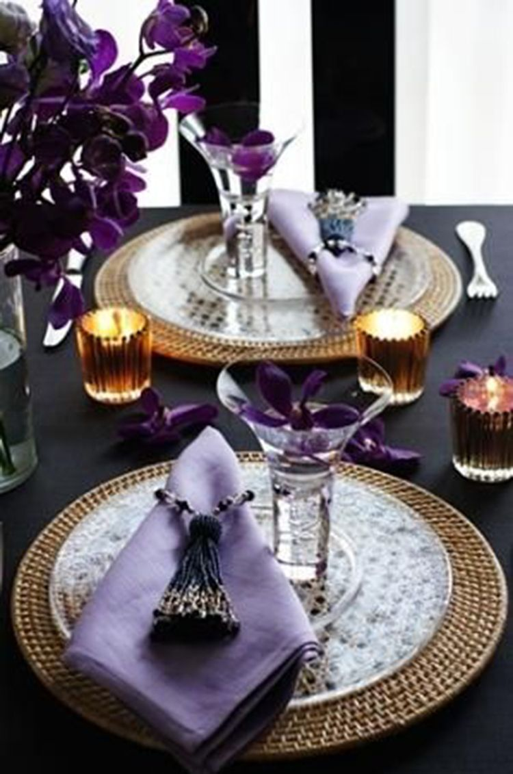 40 Lavender Dining Room Sets Inspirations For Valentine Day Elegant Table Settings Purple Table Settings Dinner Table Setting