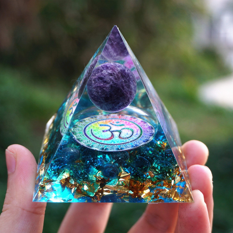 Photo of Om Amethyst Sphere Orgone Pyramid