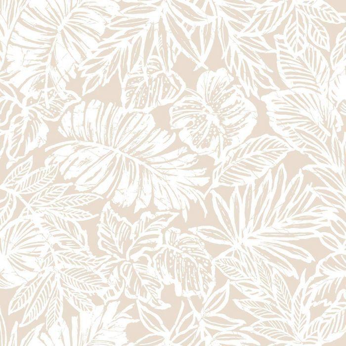 Roommates Batik Tropical Leaf Peel Stick Wallpaper Beige Peel And Stick Wallpaper Wallpaper Tropical Leaves