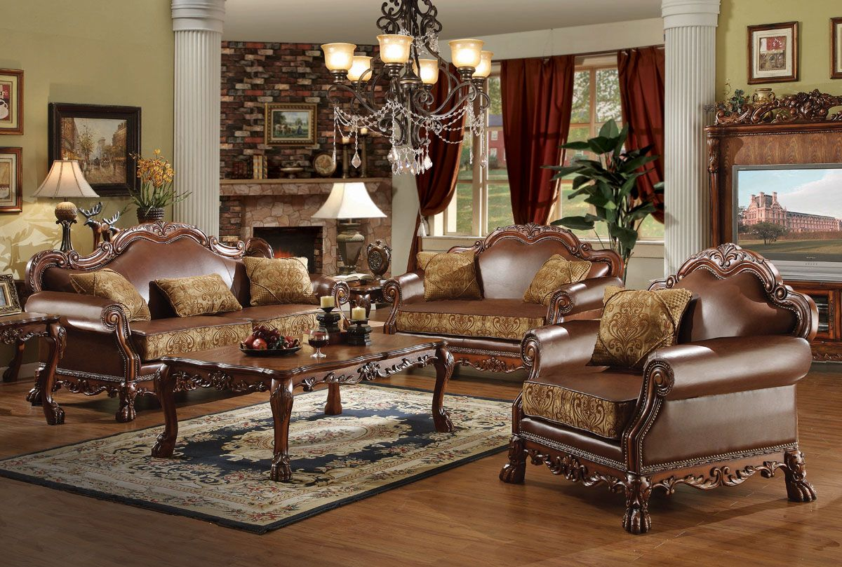 Best Acme Dresden Bycast Leather Chenille Living Room Set In 400 x 300