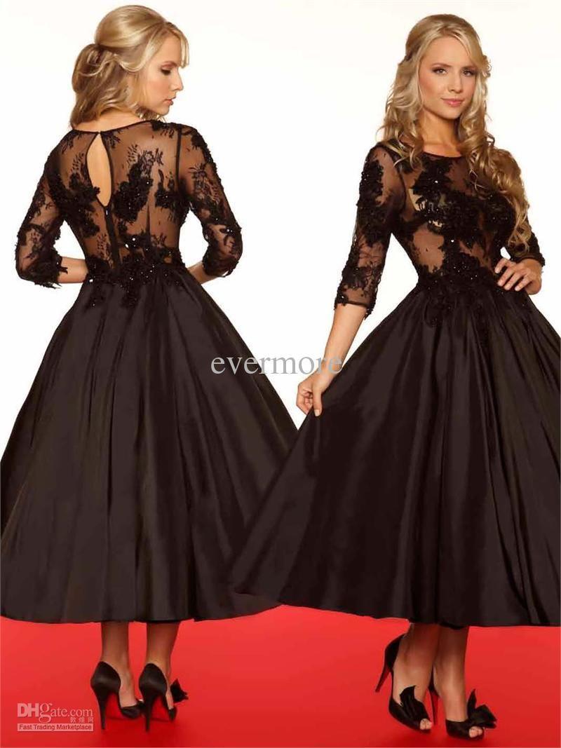 Vintage black jewel aline lace and satin three quarter sleeves