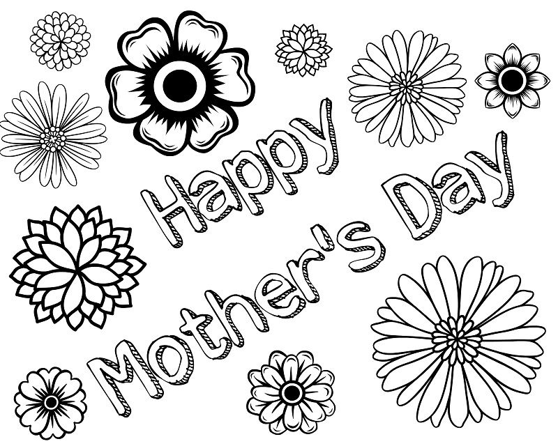 Mothers{*} Day Coloring Pages For Children, Kids, Toddlers | Happy ...