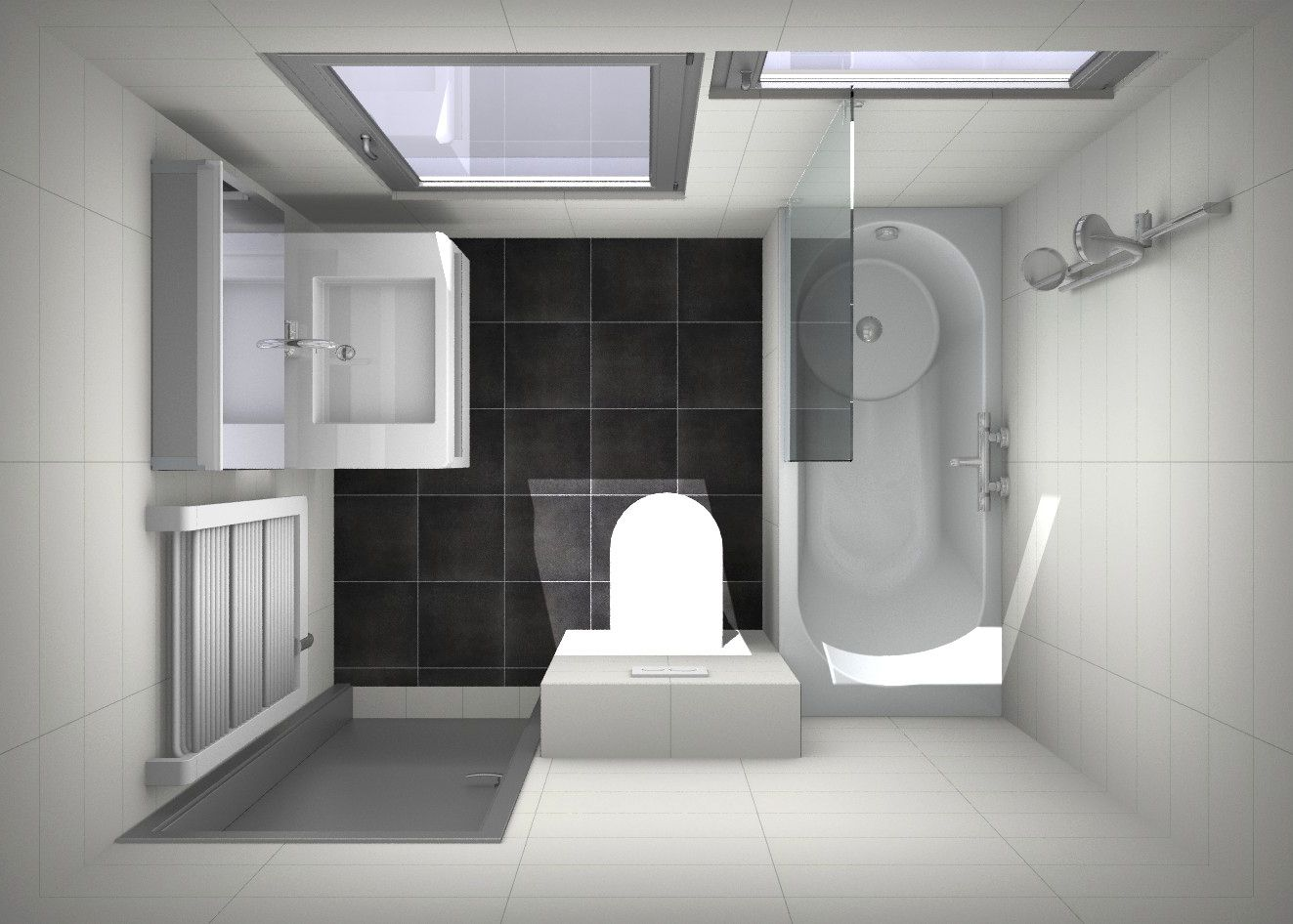 Voorbeeld ontwerp douchen in bad, kleine #badkamer | Kleine badkamer ...