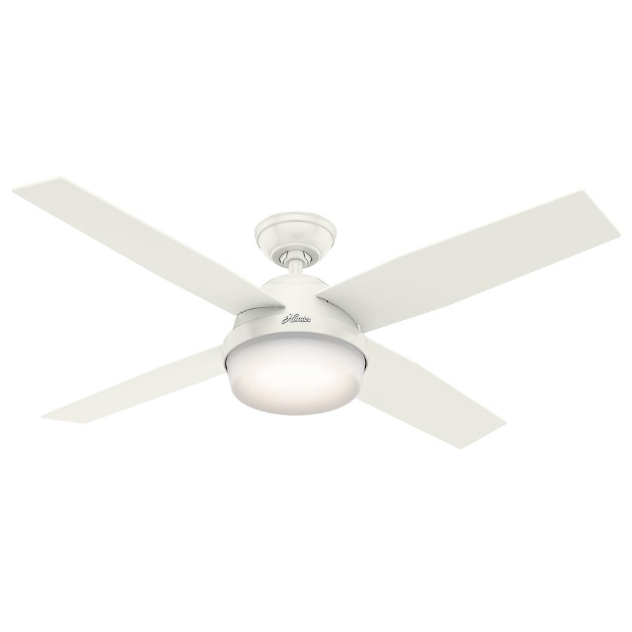 Hunter Dempsey 52 In White Downrod Or Close Mount Indoor Outdoor Ceiling Fan With Light Kit And Remote 4 Blade 59252