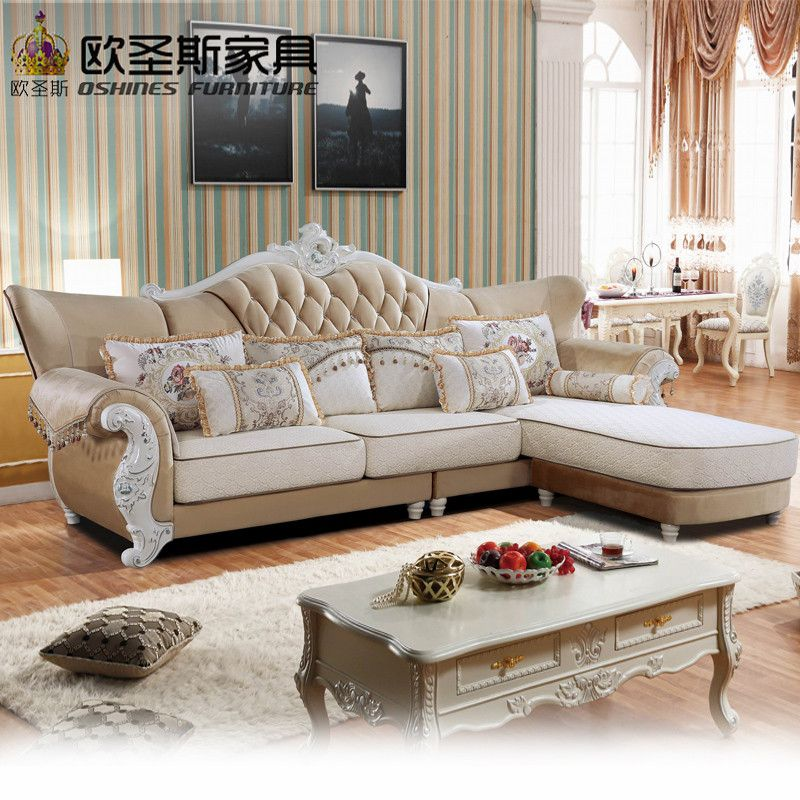 Luxury L Shaped Sectional Living Room Furniutre Antique Europe Design Classical Corner Wooden Carving Fabric Sofa Sets 801 In L Sofa Living Room Sofa Furniture