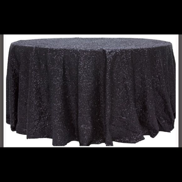 120 Round Black Sequin Tablecloth Used One Time For A Sweetheart