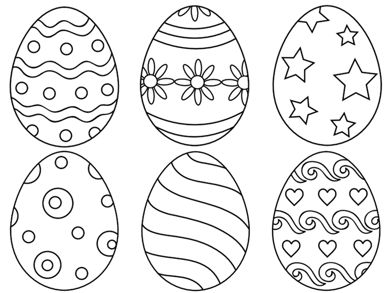 Line Drawing Easter : Free and printable easter egg coloring pages