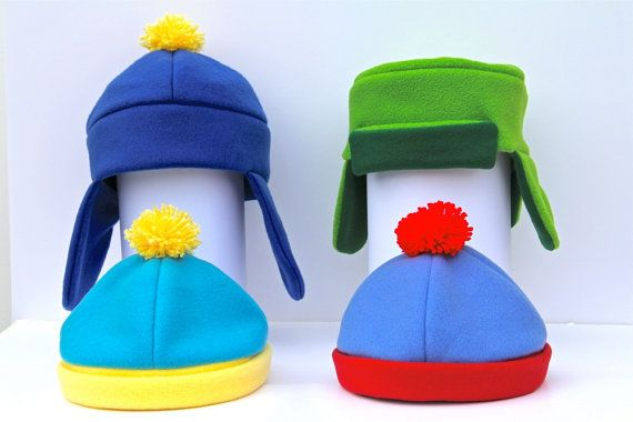 aeab9ec8a160d Set Of Four Pack South Park Style Hats Costume by indiesommer2