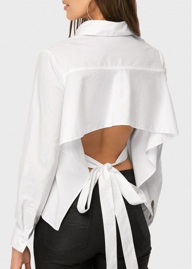 Pleated Long Sleeve Tie Back White Blouse On Sale Only Us 27 79 Now