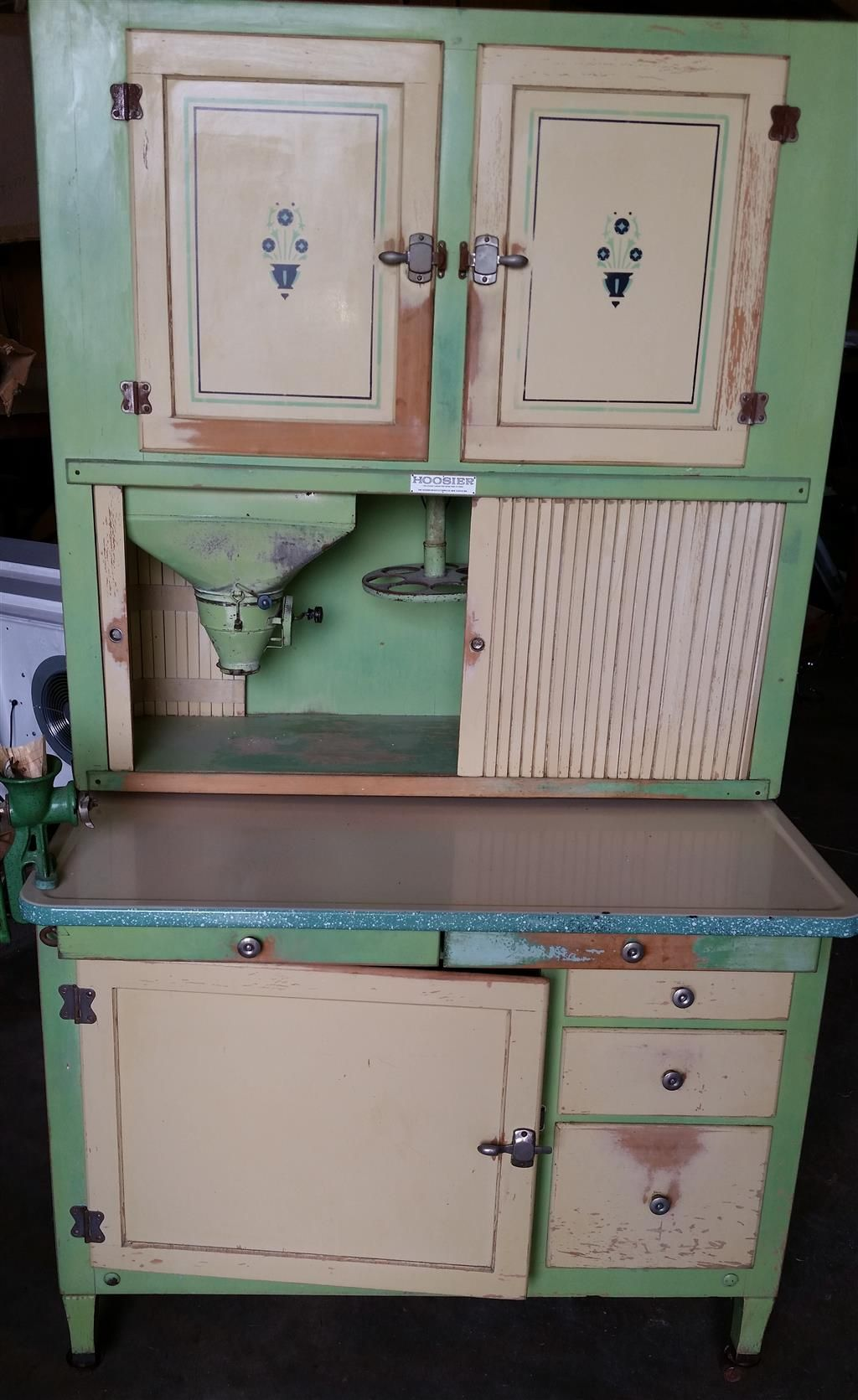 1 of 15 : 1930's Hoosier Beauty Cabinet w/ Sugar and Flour Bins, Sifter,  Spice Jars, Bread Box, and Grinder - 1 Of 15 : 1930's Hoosier Beauty Cabinet W/ Sugar And Flour Bins
