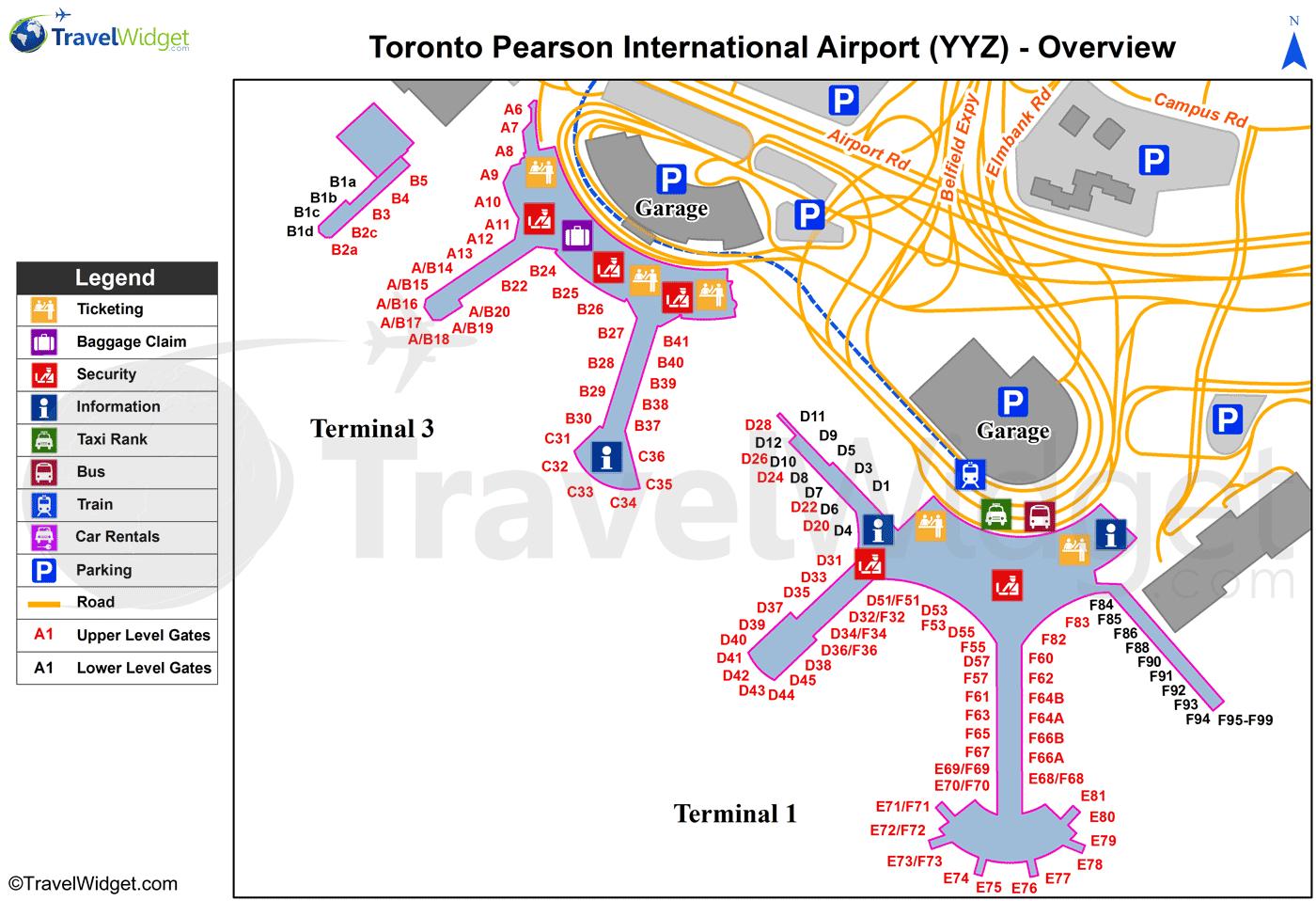 Avis Toronto Canada Map Toronto   Lester B Pearson International (YYZ) Airport Terminal