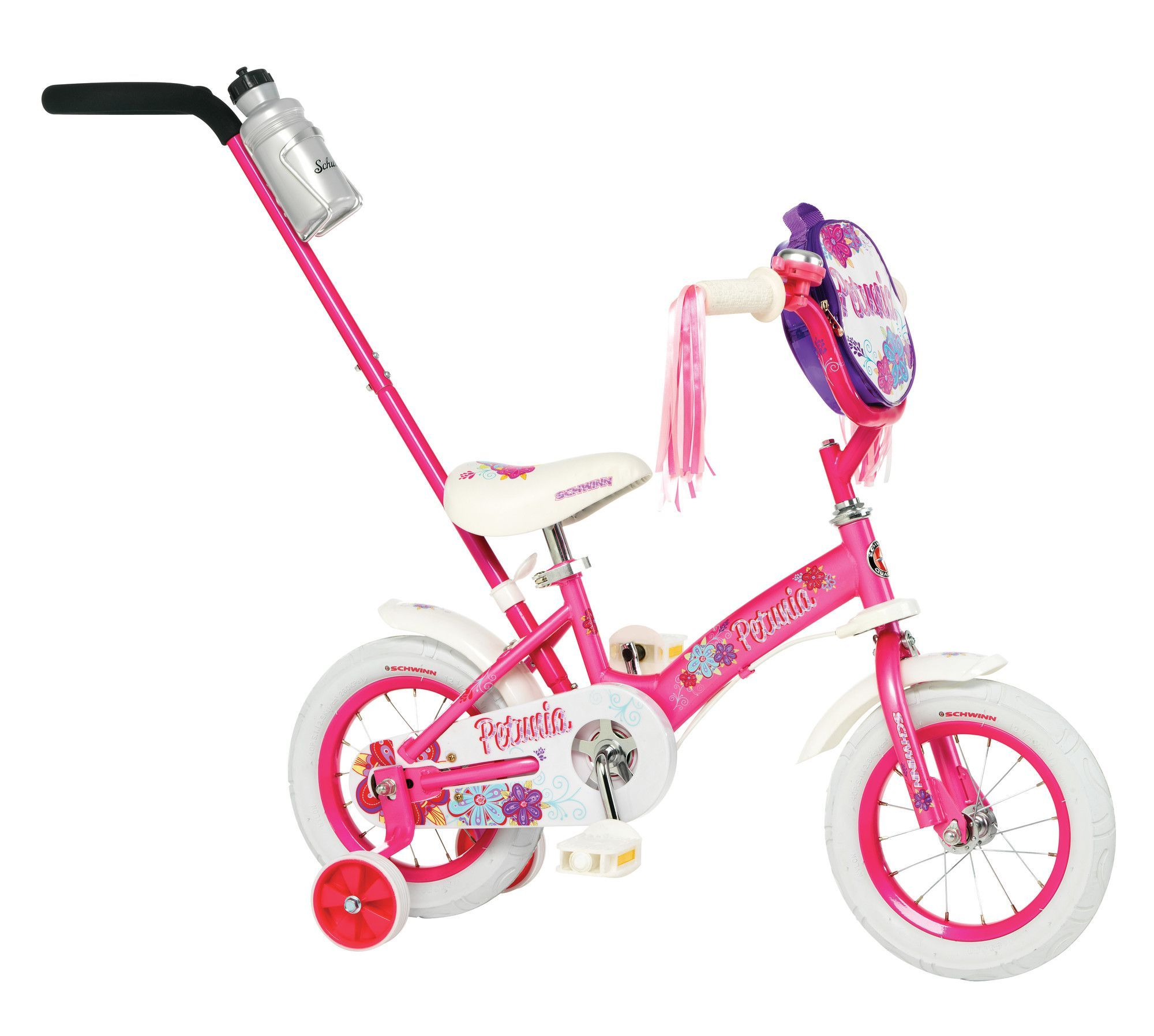 Schwinn Girl S Petunia 12 Bike With Push Handle Schwinn Schwinn Bike Bike With Training Wheels