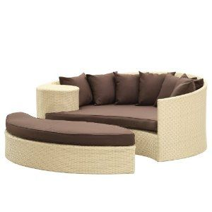 Lexmod Taiji Outdoor Wicker Patio Daybed With Ottoman In Tan With Brown Cushions Patio Daybed Patio Furniture Covers Outdoor Storage Bench
