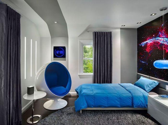 Great jugendzimmer einrichten und dekorieren moderner runder stuhl in wei und blau wanddeko mit weltall